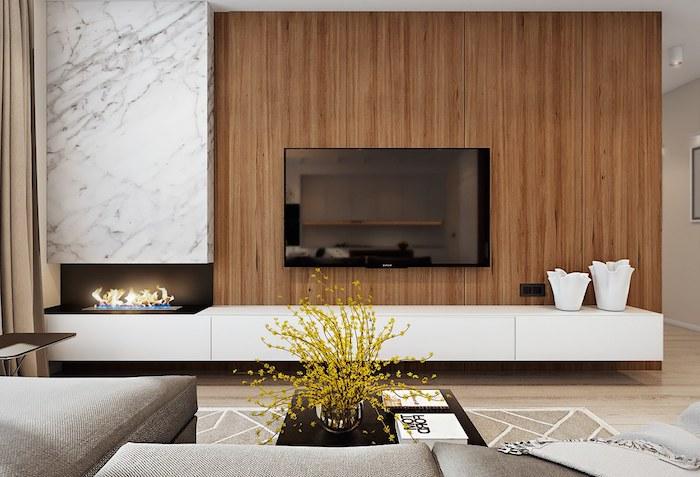 anbauwand marmor und holz gelbe blumen wandgestaltung wanddeko ideen kaminofen kleiner kamin im wohnzimmer