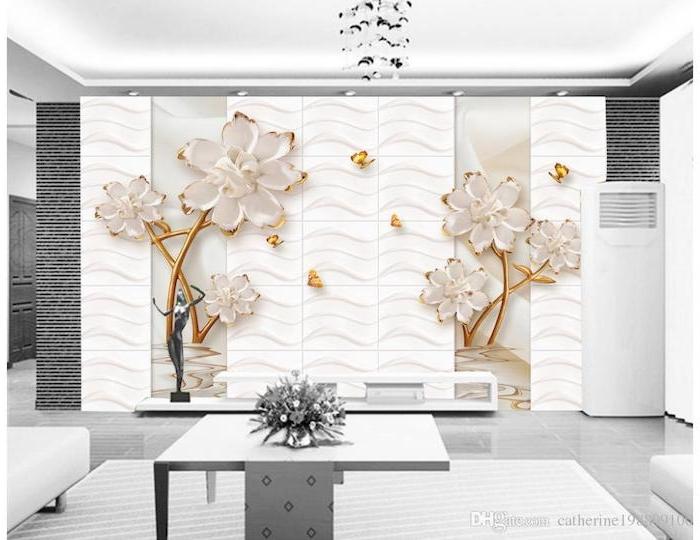 tv wohnwand große elegante blumen sticker als dekorative elemente an der wand wandgestaltung