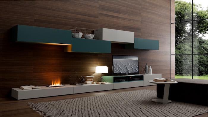 tv wohnwand dunkelgrün mit braun kombinieren farben an der wand fernsehwand gestaltung kamin kaminofen