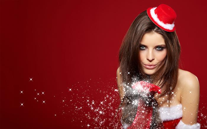 frisuren halblang schöne bob frisur zu weihnachten glatt gestalten festlicher hut handschuhe glitzer rot
