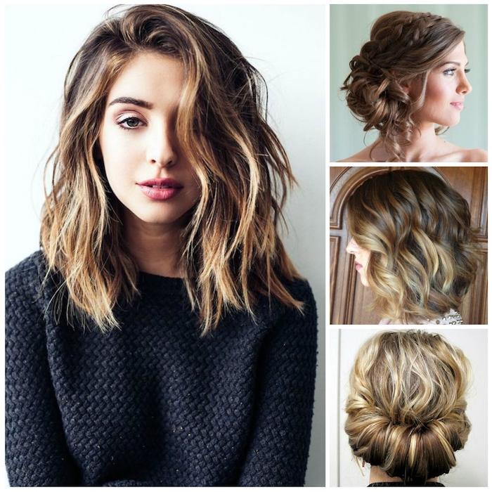 frisuren schulterlang schöne haarideen braunes haar mit goldenen strähnen wilder look natürlich