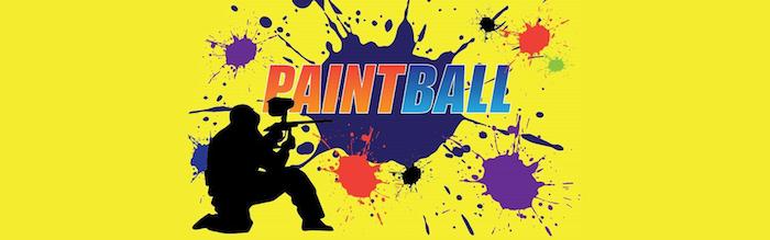 paintball logo gelbes bild hintergrund farbbälle markierer tolle bunte idee