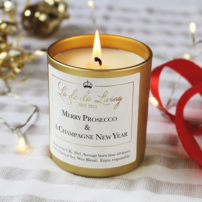Duftkerze Merry Prosecco & A Champagne New Year, lustige Geschenkideen für Männer, zu Weihnachten schenken