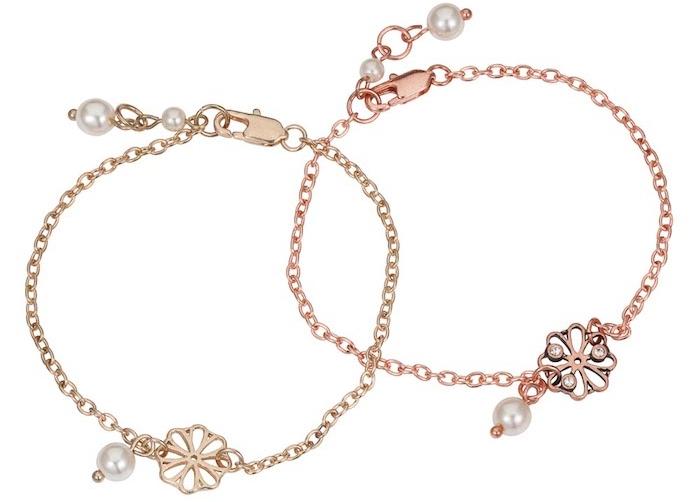 geburtstagsgeschenk beste freundin zwei gleich armbänder für die besten freundinnen blumen elemente deko am armband perlen