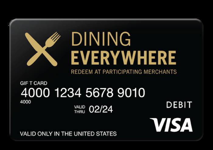 Geschenkkarte für Abendessen in verschiedenen Restaurants über das ganze Jahr, Visa Dining Everywhere, schwarze Karte mit golden und weißen Buchstaben und ein Zeichen für Restaurants in der oberen linken Ecke
