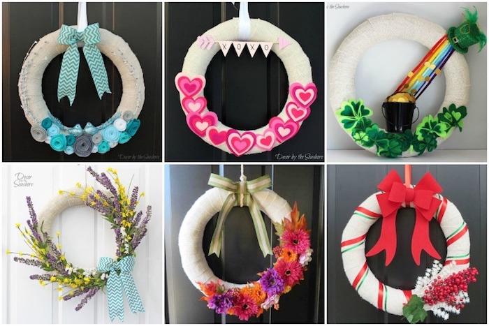 sechs verschiedene Vorschläge für ein Geschenk zum Einzug, sechs Kränze für die Eingangstür mit verschiedenen Motiven