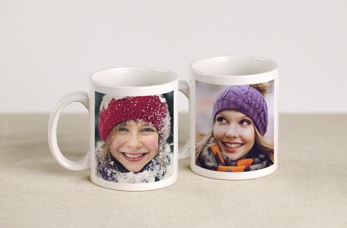 Weihnachtsgeschenk Mutter - zwei Tassen mit Fotos von Mutter und Tochter