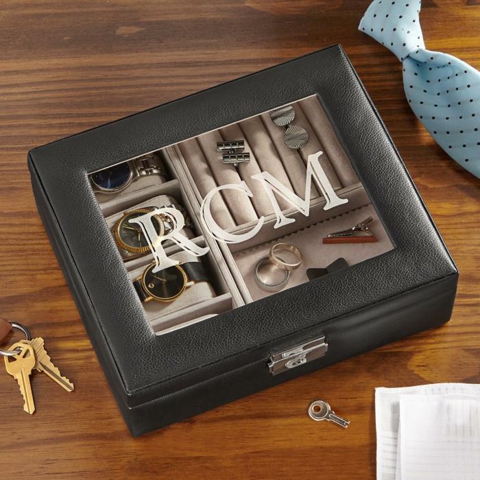 Geschenkidee für Männer, Box für Männeraccesoires- Handuhren, Ehering, und Manschettenknöpfe