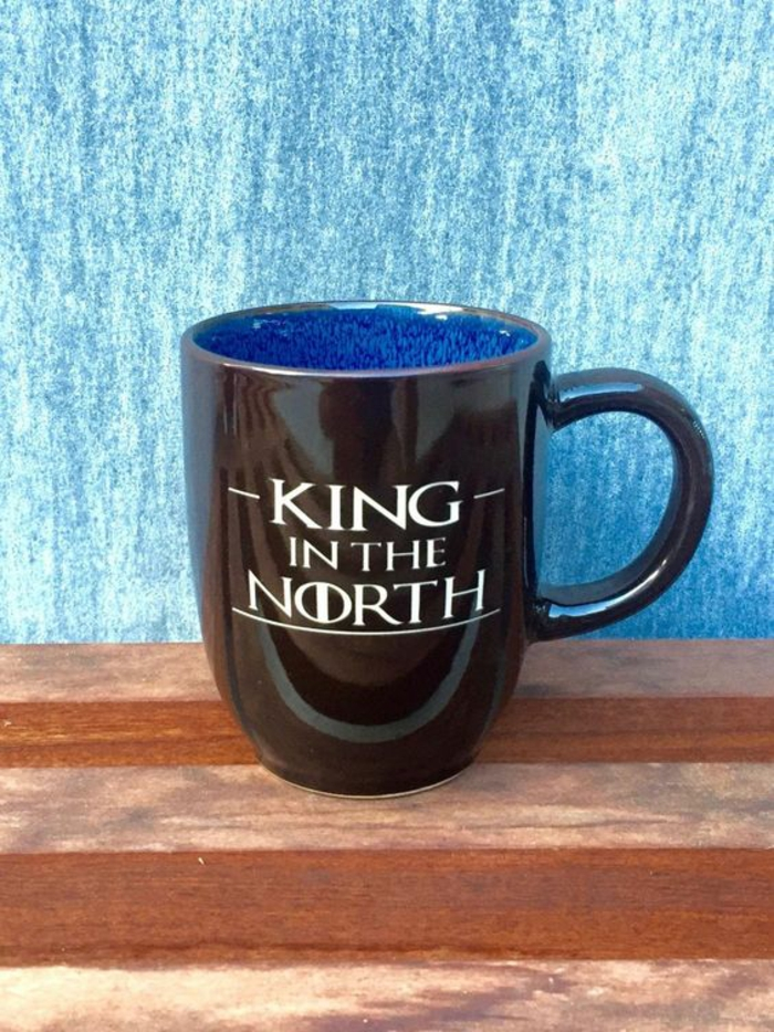 Weihnachtsgeschenk für Game of Thrones Fans, schwarze Tasse, King in the North