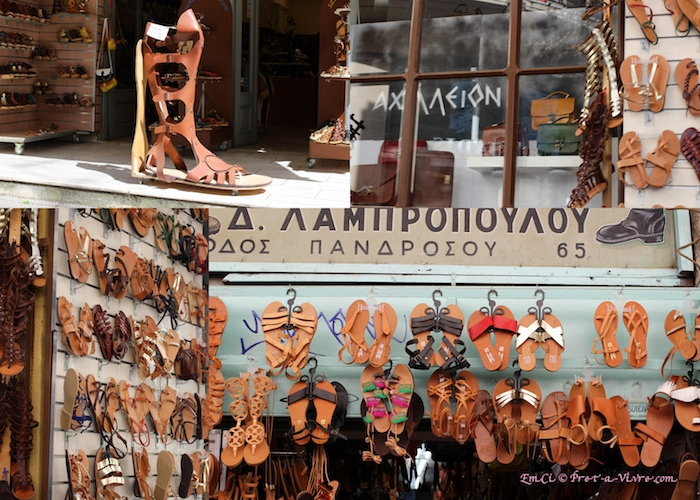 athen sehenswürdigkeiten souveniers die man gerne schenken könnte oder für sich kaufen sandalen aus griechenland römisches design altgriechische motive ideen faszinierende schuhe lederschuhe sandalen flip flop geschäft straßengeschäft