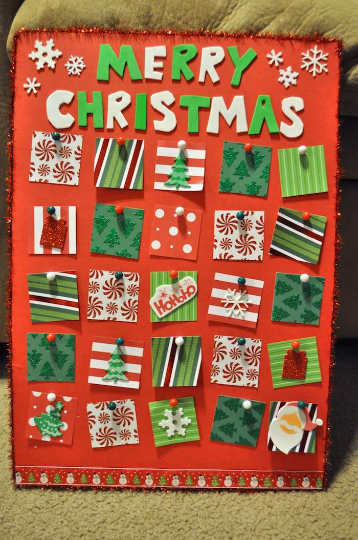 Adventskalender basteln für Männer - kleine Karten mit weihnachtlichen Motiven
