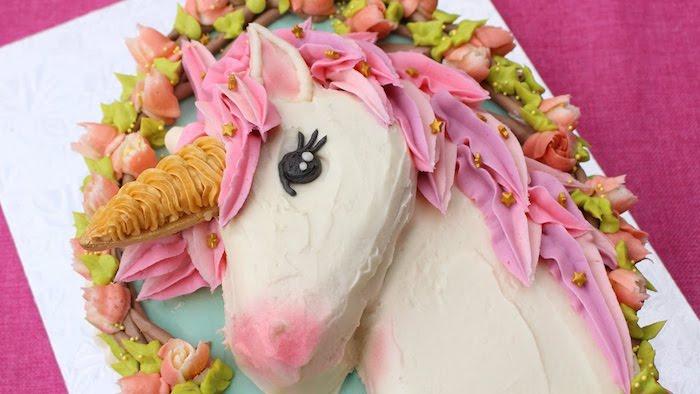 hier ist eine weiße torte mit einem weißen einhorn mit schwarzen augen, pinken ohren und einer pinken mähne und einem gelben horn - idee für einhorn kuchen deko