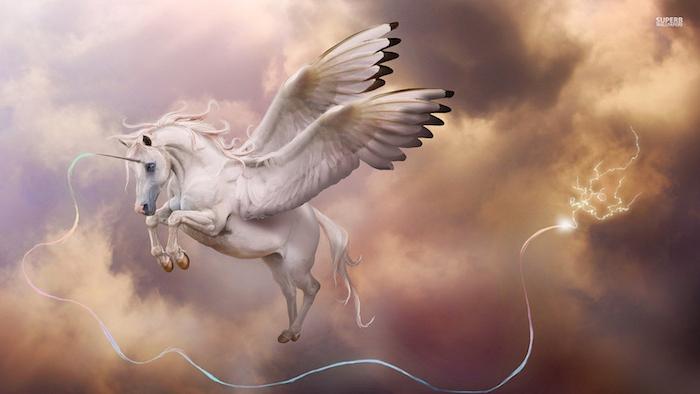 wolken und himmel und ein weißes fliegendes einhorn mit schwarzen augen und weißen flügeln und einem weißen horn