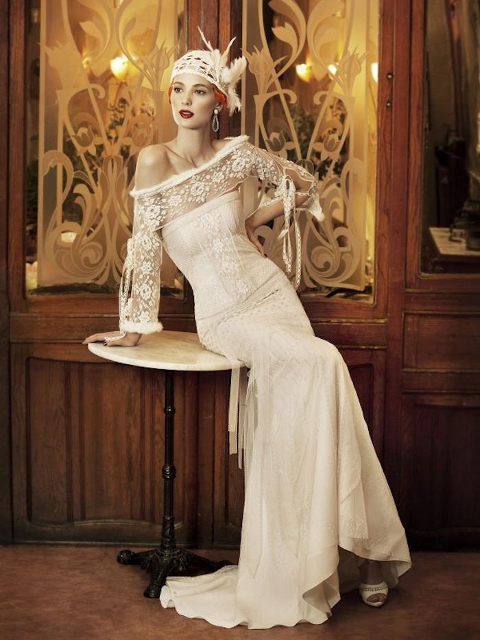 hochzeitskleider spitze, brautkleid im vintage stil, braut mit retro make-up