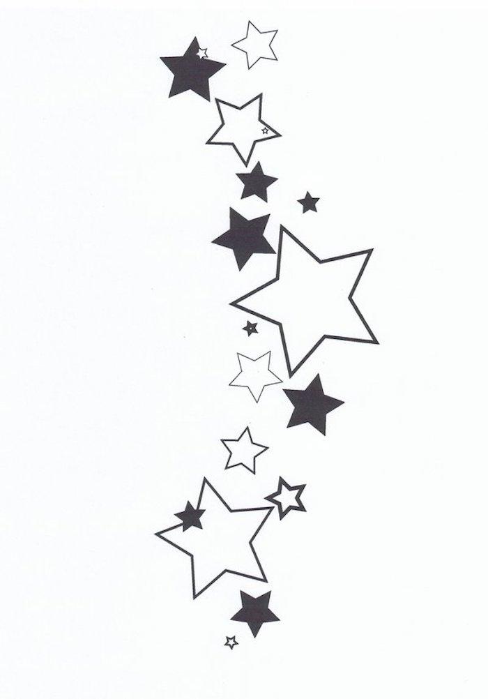 idee für einen kleinen tattoo mit großen und kleinen schwarzen und weißen sternen