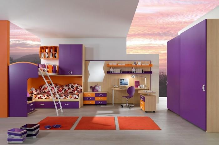 lila Ausstattung, ein lila Bett, lila Schrank und ein oranger Teppich - Teenager Zimmer