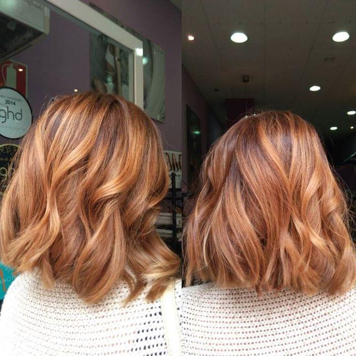 karamell braune haare, bob frisur in karamellbraun mit karamellblonden strähnen