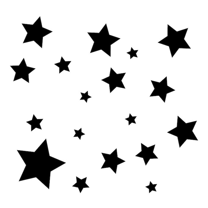 idee für eine schwarze tätowierung mit kleinen und großen schwarzen sternen