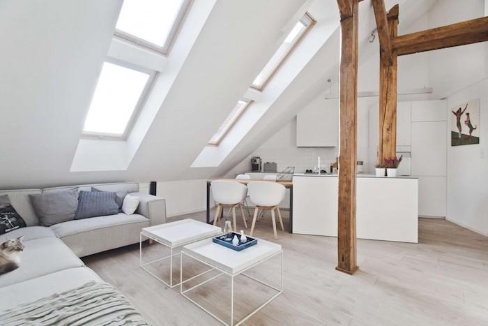 Dachgeschoss Küche Wohnküche Zu Hause Weiße Einrichtung Einrichtungsideen  Zum Gestalten Kaffeetisch