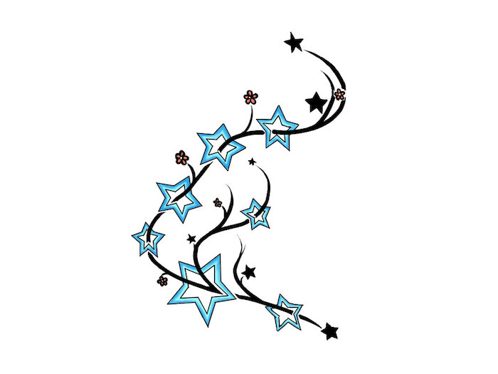 eine tätowierung mit rosa blumen, kleinen schwarzen sternen und großen blauen sternen - ein stern tattoo