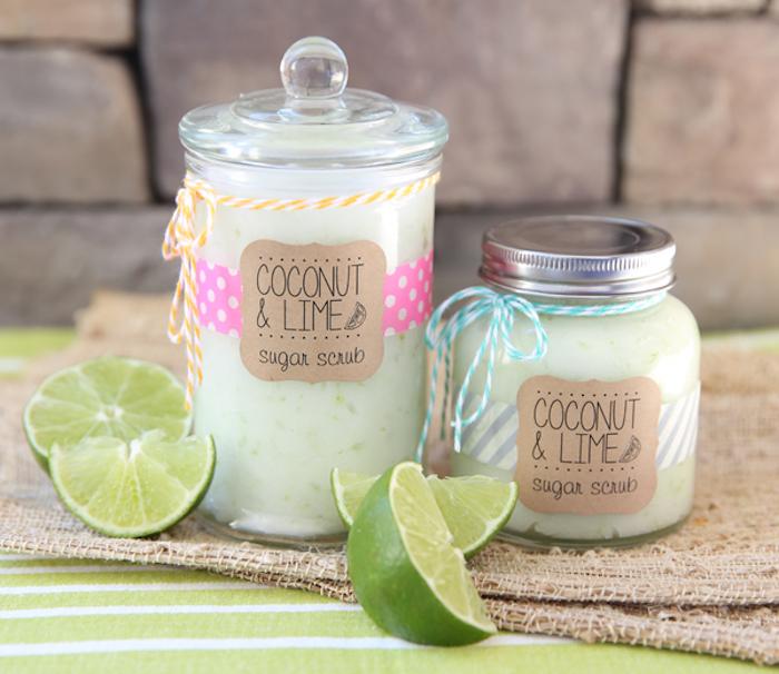 kokosöl kosmetik selber machen, peeling mit kokos, zucker und limetten