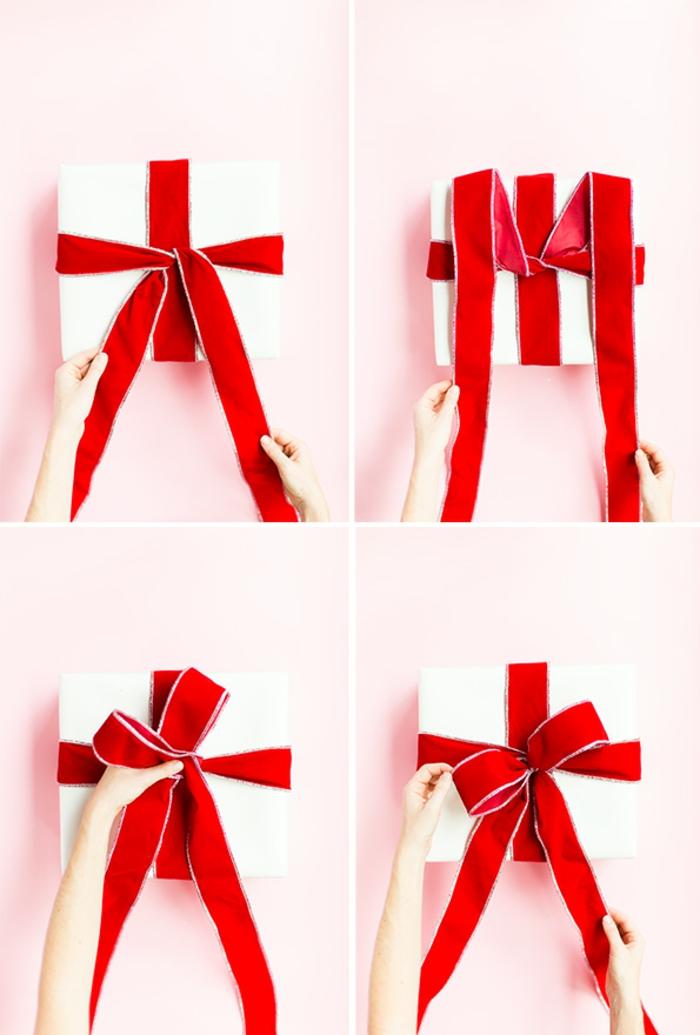 Schritt für Schritt Anleitung, wie man eine Schleife bindet, Weihnachtsgeschenke schön verpacken
