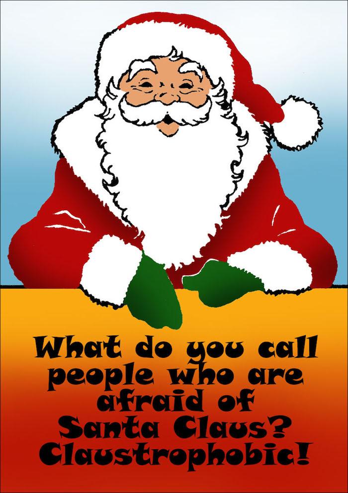 Ein Wortspiel mit dem Weihnachtsmann, Aufschrift mit schwarze Buchstaben auf orangen Hintergrund - schöne Weihnachtsbilder