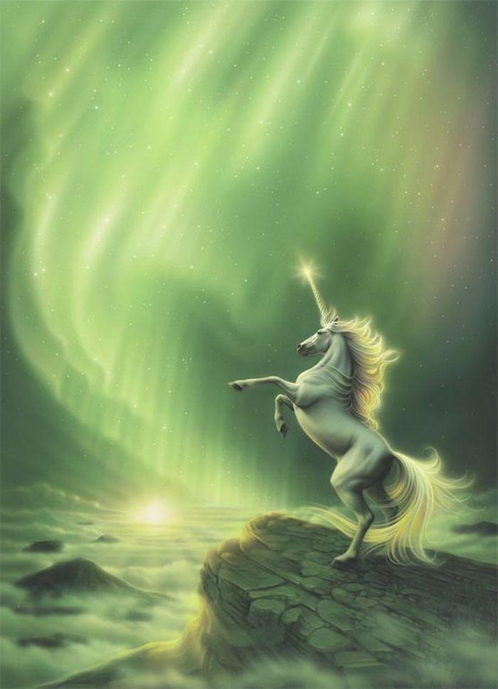 himmel mit sternen, wolken - ein wildes weißes einhorn mit einem langen weißen horn