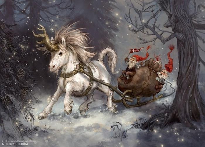 wald mit grauen bäumen und schnee und ein wildes laufendes einhorn mit einem gelben horn