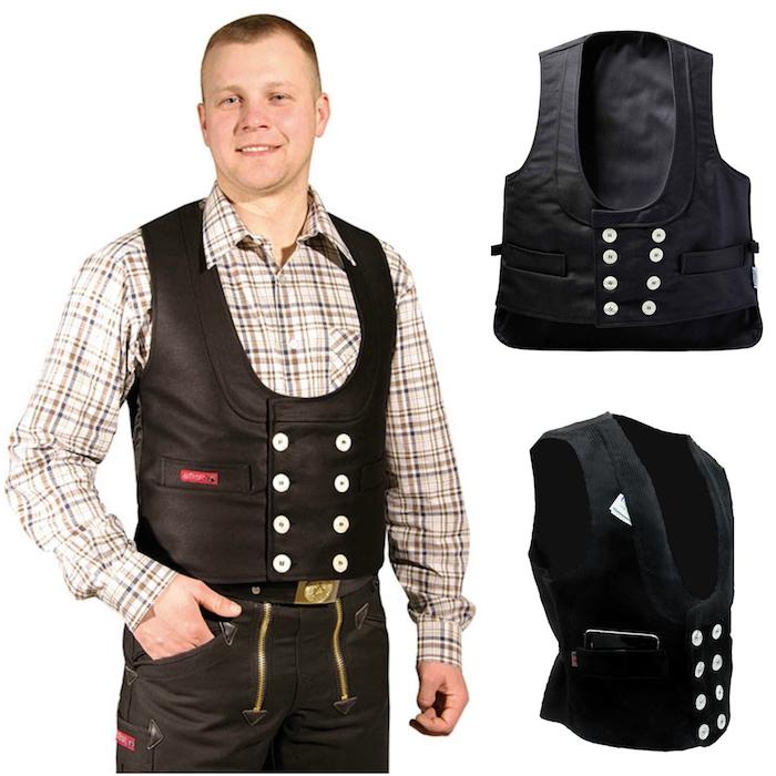 zwei schwarze zunftweste - ein mann mit einer zunftbekleidung - zunfthose und schwarze zunftweste