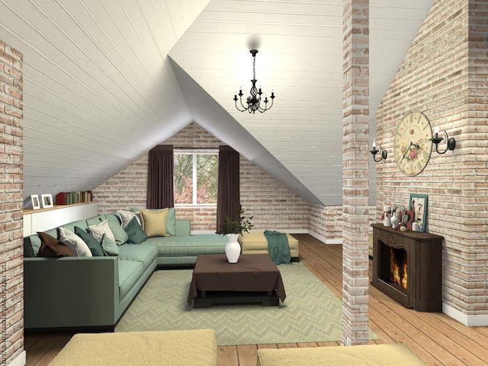 dachgeschoss küche großes grünes sofa mit vielen kissen als deko kamin in der wohnung hängende lampe vom dach