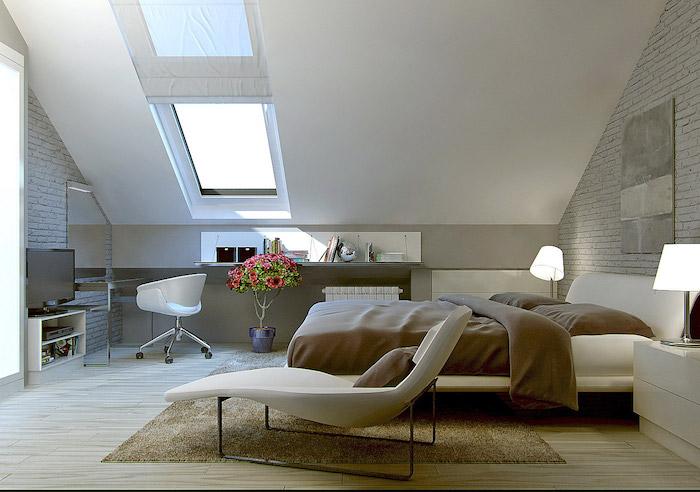 kleine räume geschickt einrichten schlafzimmer auf dem letzten stock maisonette lesesessel schreibtisch fenster zum dach große schöne blume bunte farben