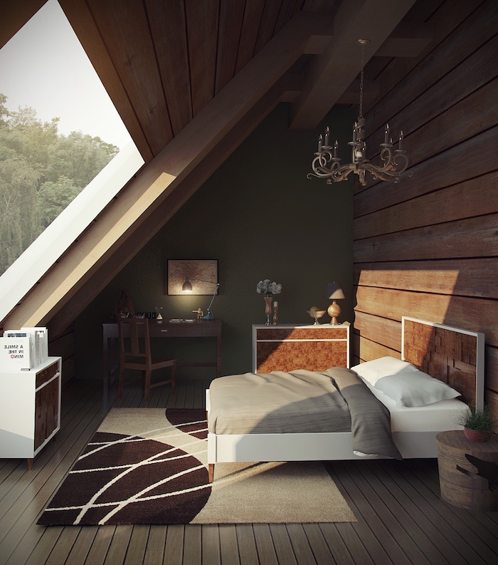 mansardenzimmer schlafzimmer mansarde wohnung großes fenster viel lich im zimmer sonnenstrahlen kunst schöne lampe im zimmer teppich traumteppich