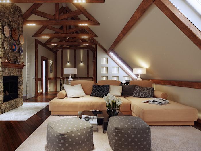 dachgeschosswohnung einrichten moderne luxuriöse einrichtung luxuswohnung beleuchtung hocker stehlampe kamin