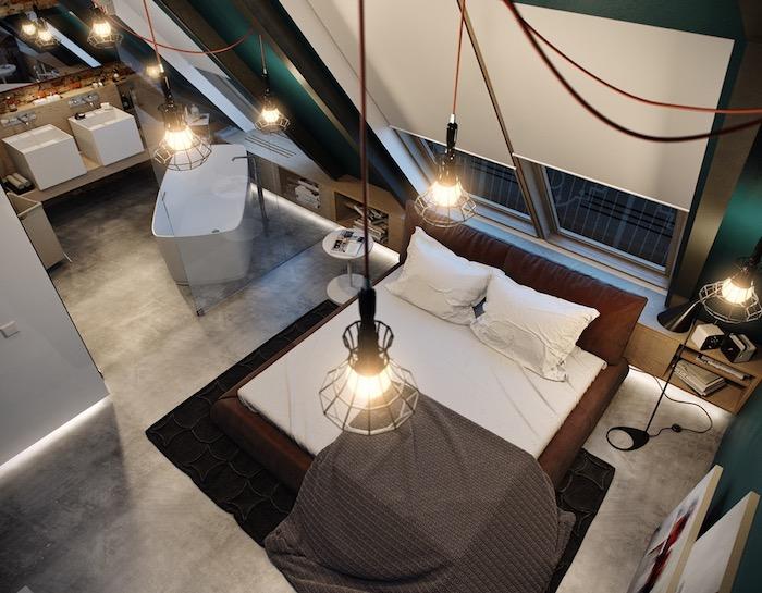 dachgeschoss einrichten bett bettdecke in braun hängende lampen vom dach dachwohnung von oben sehen badewanne bad waschbecken schlafzimmer mit eigenem bad