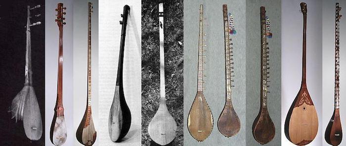 Tanbura ist eine Art von Langhalslaute mit Bünden, Fotocollage aus sechs verschiedenen Fotos auf grauen oder schwarzen Hintergrund