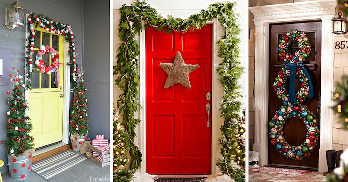 drei Häuser mit Dekoration zum Nikolaustag an der Eingangstür, zwei kleine Tannenbäume mit Weihnachtskugeln, Fußmatten, Weihnachtskränze