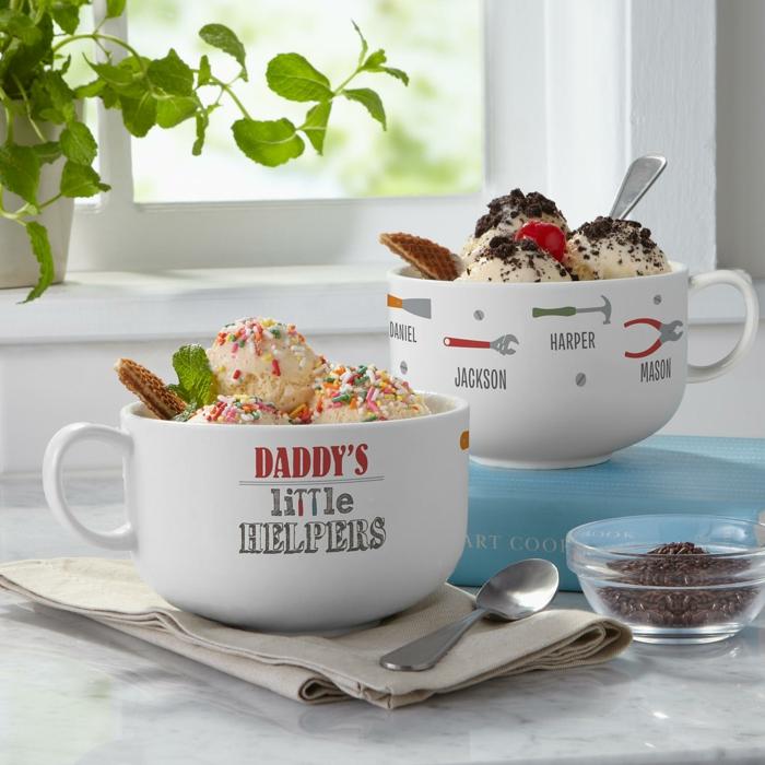 Personalisierte Tasse für Vater von Kindern, kreative Ideen für Weihnachtsgeschenk, leckeres Eis