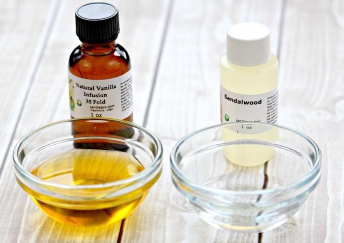 parfum selber herstellen, zutaten für parfüm, vanille und ätherisches sandelholöl