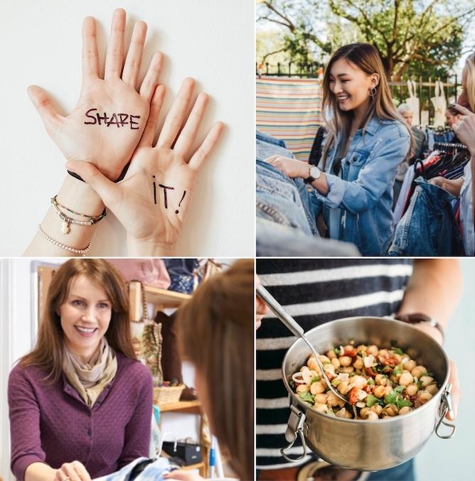 share economy ideen mitteilen essen bekleidung hilfe motivation fröhliche lebensweise