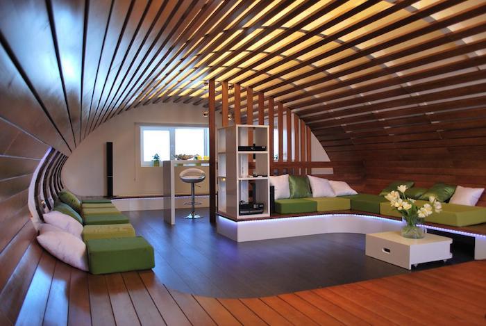 möbel für dachschrägen runde gestaltung des dachzimmers keine grobe exken mehr schöne gestaltungsideen grün weiß kissen sessel sofa frische pflanzen