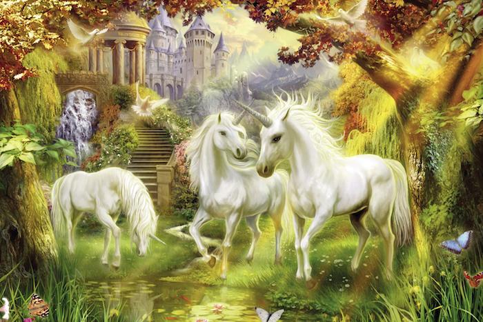 drei weiße einhörner, wald mit bäumen und einem schloss - fantasy einhorn bilder