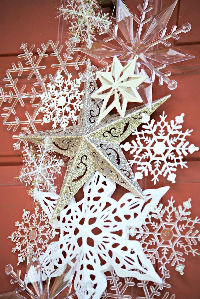 Basteln Winter - Schneeflocken und Sternen mit viel Glanz, verschiedene Designs