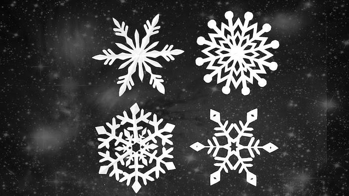 Fensterdeko basteln - drei Vorlagen von verschiedenen Schneeflocken, Sterne im Hintergrund
