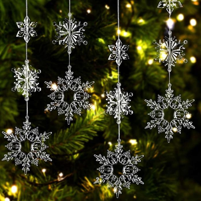 schneeflocken basteln anleitung weihnachten deko schneeflocken selber machen einfach mobile mit kristalähnlichen schneeflocken