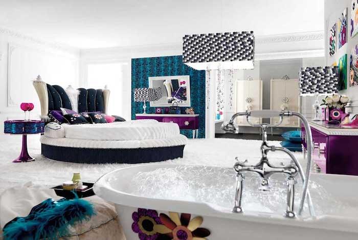 Betten für Teenagers - weißes, rundes Bett in einem Luxus Jugendzimmer