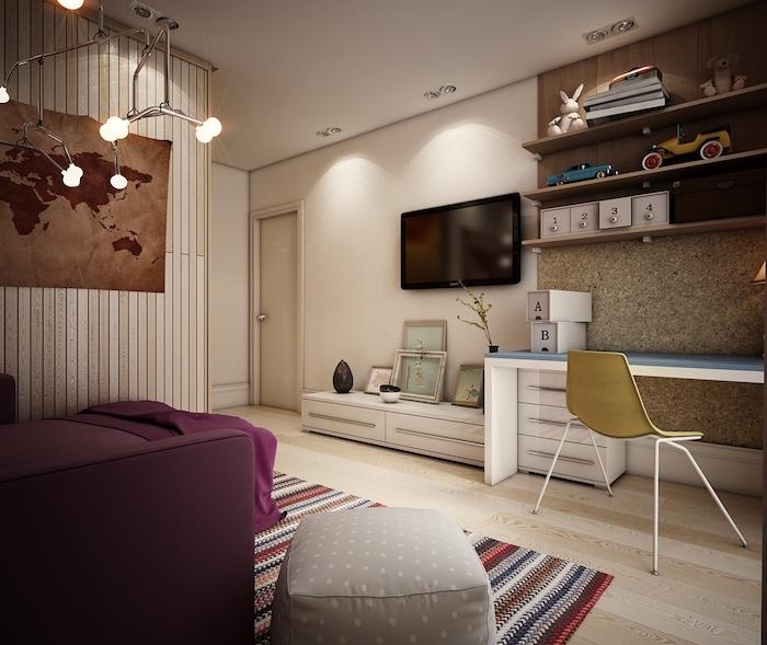 Betten für Teenagers mit lila Bettwäsche, ein gestreifter Teppich, braune Weltkarte