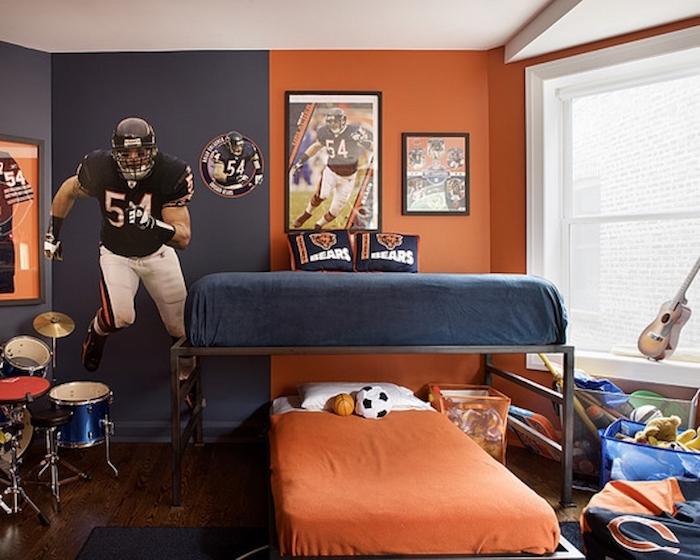 Jugendzimmer Ideen - zwei Betten von Bears Fans - thematisches Jugendzimmer
