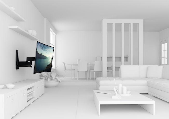 tv wandpaneel eine wohnung völlig in weiße eingerichtet der fernseher ist der einzige akzent schwarz