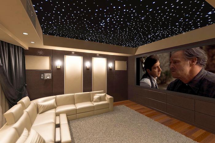 schrankwände zimmerdach dekoration kosmos gestaltung kosmosartig weltall in dem zimmer großer bildschirm monitor fernseher weißes sofa ledersofa